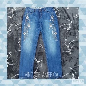 Distressed/Embroidered blue jeans size 6